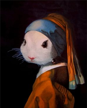 Bunny Girl with a Pearl Earring paint by number