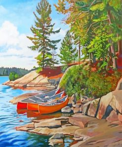 Canoes Lakeside paint by number