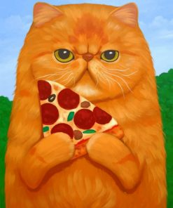 Cat Holding Pizza paint by numbers