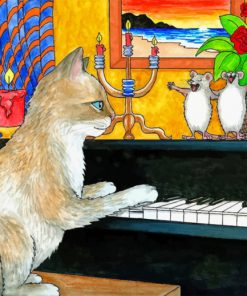 Cat playing Piano paint by numbers