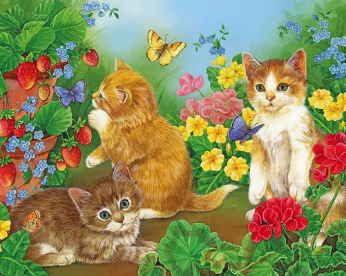 Cats In Garden paint by numbers