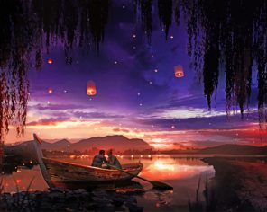Couple On Boat At Night paint by numbers