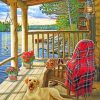 Dog in wooden cabin paint by numbers