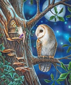 Fairy and Owl Art paint by number