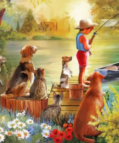 Fisher Boy With Pets paint by number