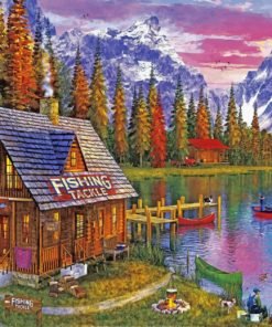 Fishing hut lakeside paint by number