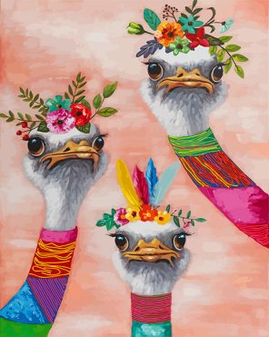 Floral Ostriches paint by numbers