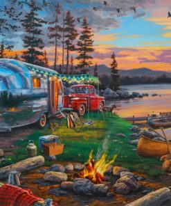 Forest Camping Nature paint by numbers