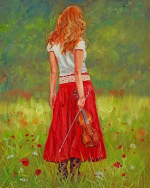 Girl Holding Violin paint by number