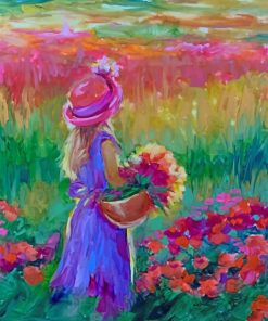 Girl In Flowers Field paint by numbers