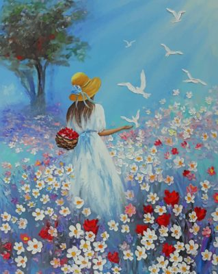 Girl In Flowers Garden Art paint by numbers