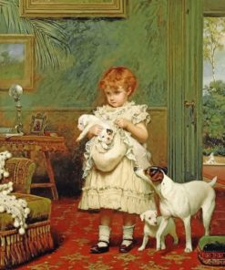 Girl With Dogs paint by number