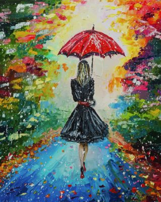 Girl With Umbrella Art paint by numbers