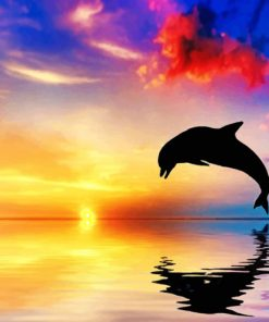 Jumping Dolphin silhouette paint by number