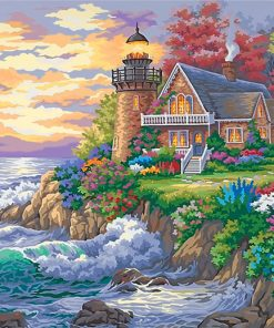 Lighthouse House garden Seaside paint by number
