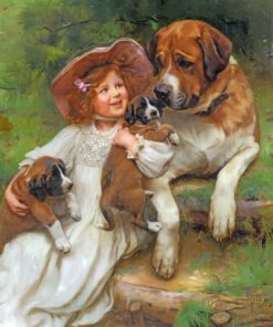 Little Girl With Pets paint by number