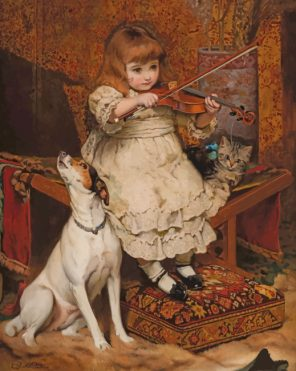 Little Violinist Girl paint by numbers