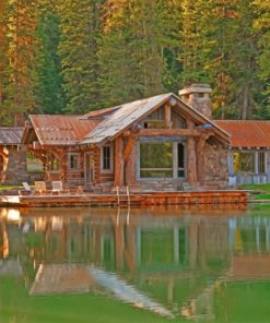 Log Cabin Lakeside paint by numbers