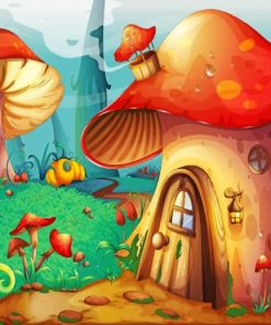 Mushroom House paint by number