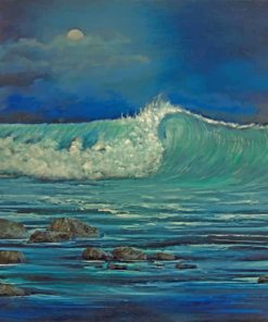 Ocean Waves At Night paint by number