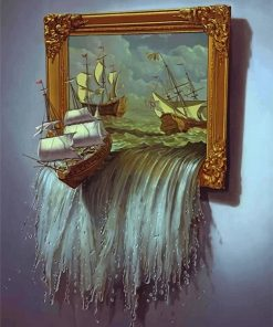 Ocean ship art paint by number