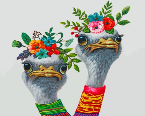 Ostriches With Flowers paint by number