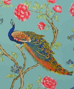 Peafowl and Flowers paint by number