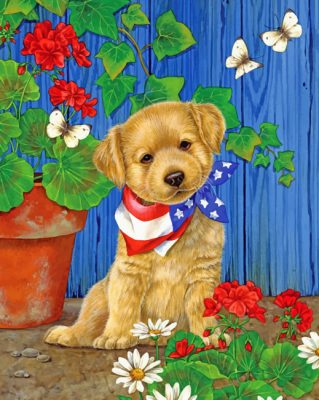 Puppy In Garden paint by number