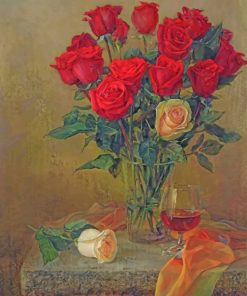 Red Roses In Glass paint by number