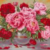 Red and Pink Peonies vase paint by number