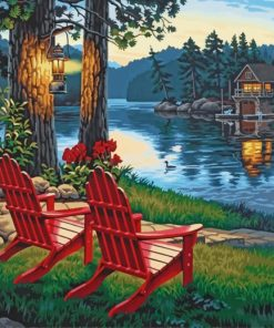 Red Chairs By Lake paint by numbers