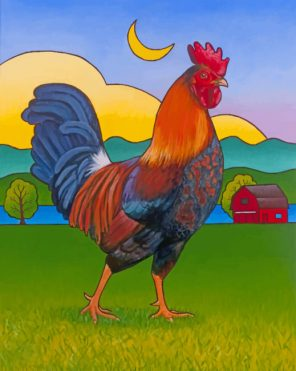 Rooster In Farm paint by number