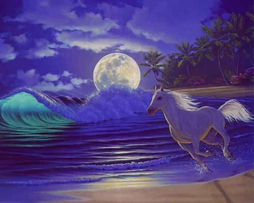 Running Horse In Beach paint by numbers
