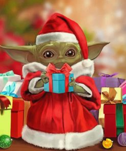 Santa Baby Yoda paint by numbers