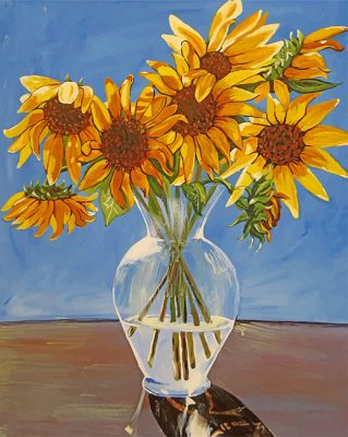 Sunflowers in vase paint by number