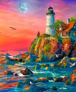 Sunset Ocean Lighthouse paint by number