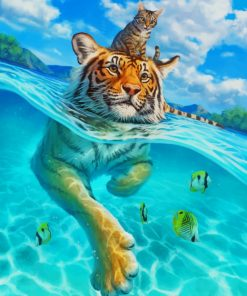 Tiger In Water paint by number