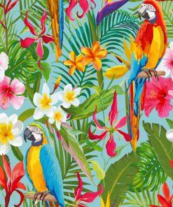Tropical Parrots Art paint by number