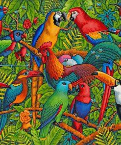 Tropical rainforest birds paint by number