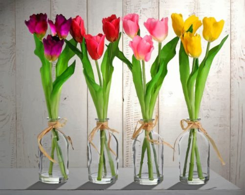 Tulips In Glass Vases paint by number