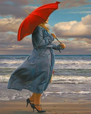 Woman Under Umbrella paint by number