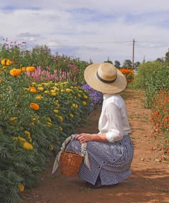 Woman With Hat in Farm paint by number