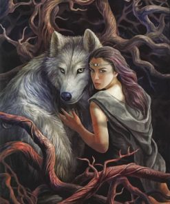 Woman and Wolf paint by number