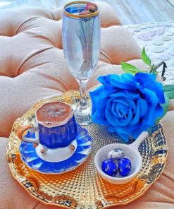Aesthetic Coffee And Blue Rose paint by numbers