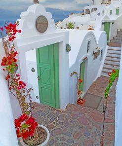 Santorini Green Doors paint by numbers