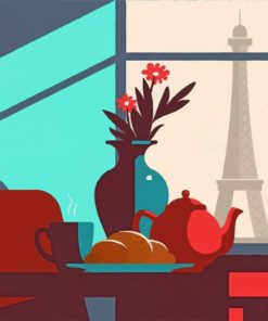 Aesthetic Parisian Breakfast paint by numbers