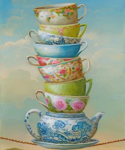 Aesthetic Teapot And Cups paint by numbers