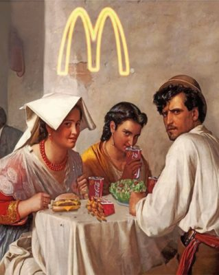 Antique People Eating McDonald's paint by numbers