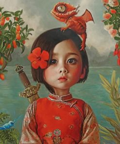 Asian Little Girl paint by numbers