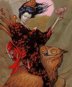 Asian Woman And Owl paint by numbers